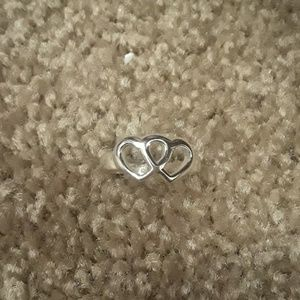 NWOT Sterling silver double heart ring size 5.5